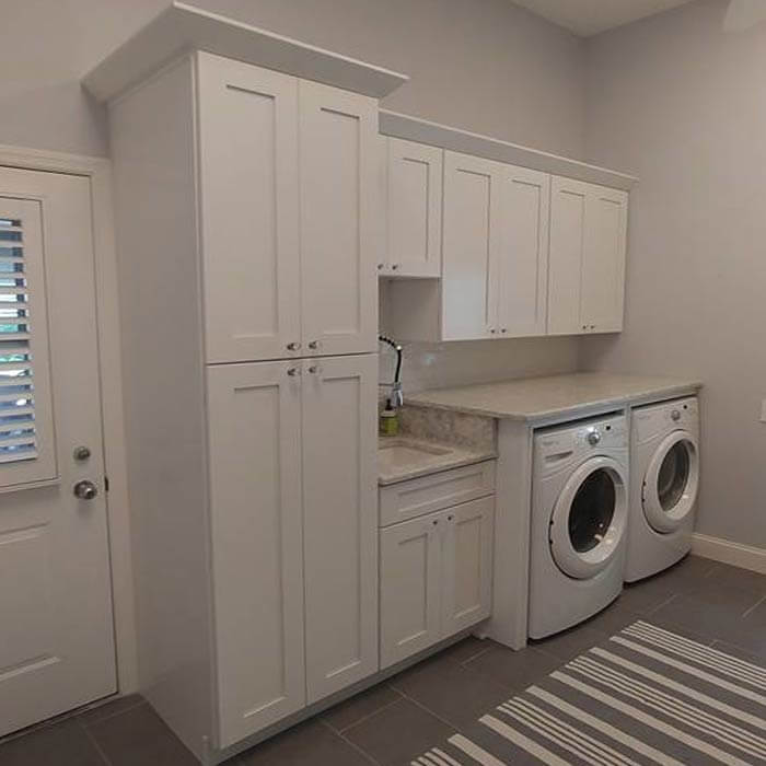 White Shaker Cabinets for Laundry room