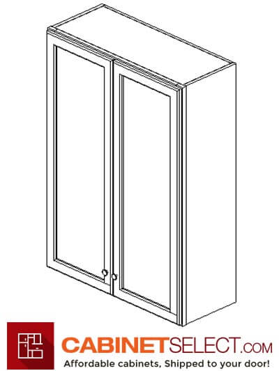 "AW-W3042B: Ice White Shaker 30"" Double Door Wall Cabinet"