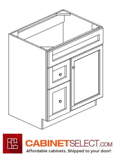 "AK-S3021DL-34-1/2"": Shakertown 30"" Left Drawers (2) Vanity"
