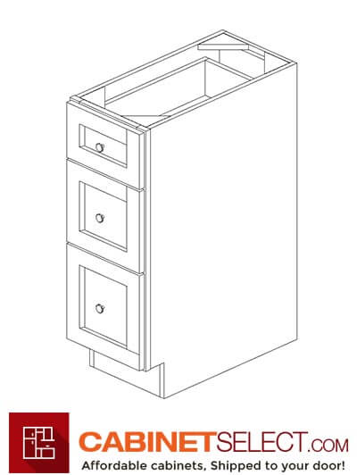 "AP-DB12(3): Pepper Shaker 12"" 3 Drawer Base Cabinet"