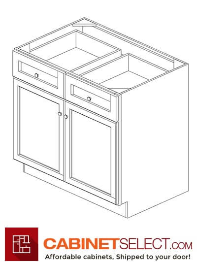 "AW-B36B: Ice White Shaker 36"" 2 Drawer 2 Door Base Cabinet"
