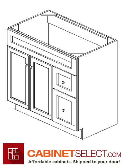 "AW-S3621BDR-34-1/2"": Ice White Shaker 36"" Right drawers (2) Vanity"