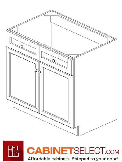 "AW-SB36B: Ice White Shaker36"" 2 Door Sink Base Cabinet"