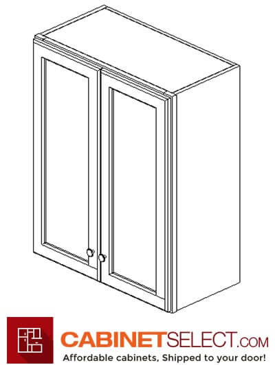 "AW-W2436B: Ice White Shaker 24"" Double Door Wall Cabinet"