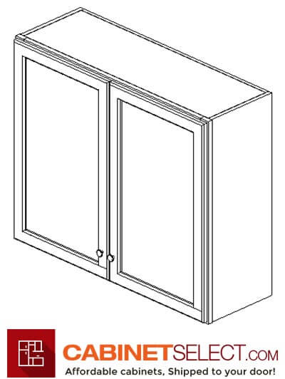 "AW-W3636B: Ice White Shaker 36"" Double Door Wall Cabinet"
