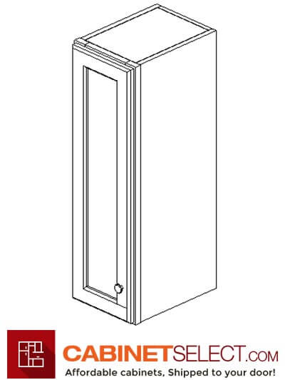 "AW-W0930: Ice White Shaker 9"" Single Door Wall Cabinet"