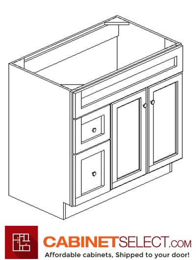 "CYOF-S3621BDL-34-1/2"": Country Oak Classic 36"" Left Drawers (2) Vanity"
