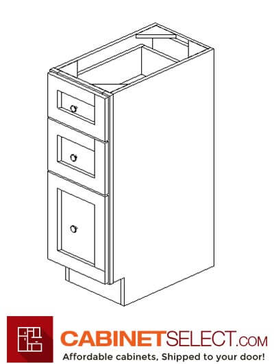 "GW-SVB1521-34-1/2"": Gramercy White 15"" Three Drawer Base vanity"
