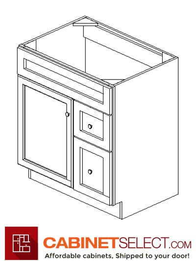 "PC-S3021DR-34-1/2"": Pacifica 30"" Right Drawers (2) Vanity"